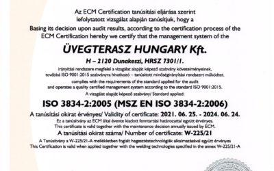 ECM ISO, MSZ EN ISO legfrissebb tanúsítványaink
