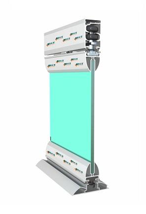 lapozható üvegfal, alacsony vasalat